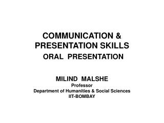 COMMUNICATION & PRESENTATION SKILLS ORAL  PRESENTATION