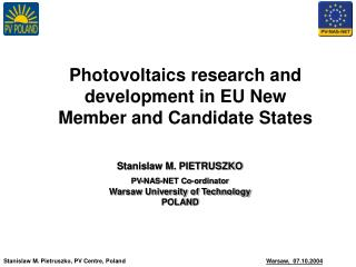 Photovoltaics research and development in EU New Member and Candidate States