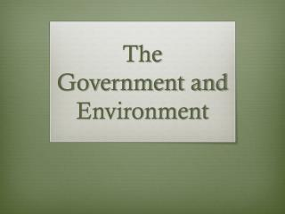 The Government and Environment
