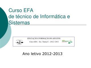 Curso EFA  de técnico de  Informática e Sistemas