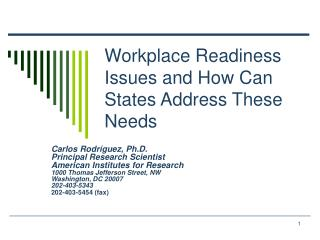 Workplace Readiness Issues and How Can States Address These Needs
