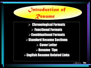 Introduction of Resume