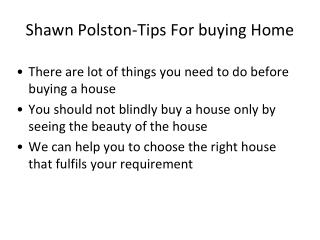 Tips Before Purchaing A House