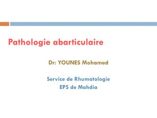 Pathologie abarticulaire