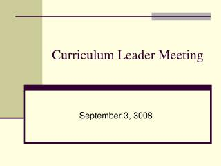 Curriculum Leader Meeting