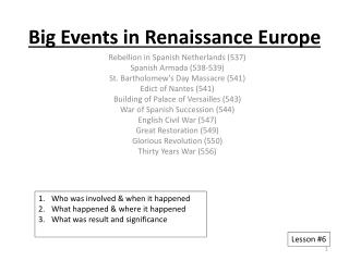 Big Events in Renaissance Europe