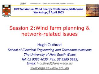 Session 2:Wind farm planning &  network-related issues