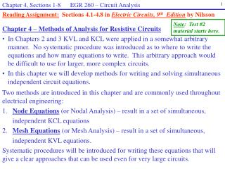 Chapter 4 – Methods of Analysis for Resistive Circuits