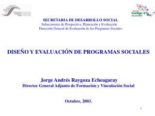 SECRETARIA DE DESARROLLO SOCIAL Subsecretaria de Prospectiva, Planeación y Evaluación    Dirección General de Evaluación