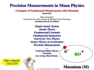 Precision Measurements in Muon Physics A Sampler of Fundmental Measurements with Muonium