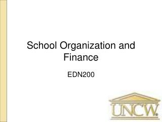 School Organization and Finance