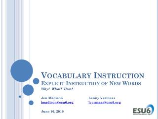 Vocabulary Instruction  Explicit Instruction of New Words