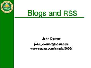 Blogs and  RSS
