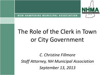 The Role of the Clerk in Town or City Government