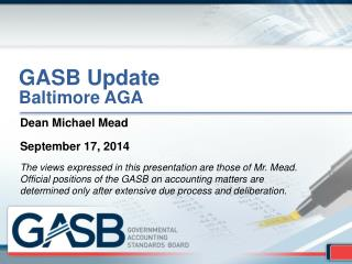 GASB Update Baltimore AGA