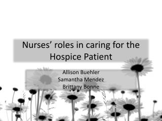 Nurses' roles in caring for the Hospice Patient