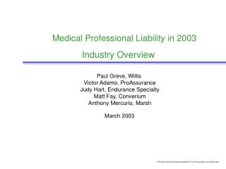 Medical Professional Liability in 2003