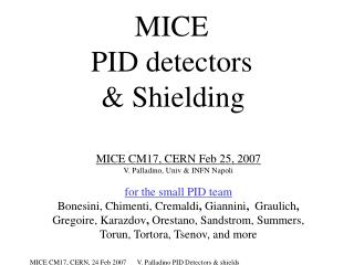 MICE  PID detectors & Shielding