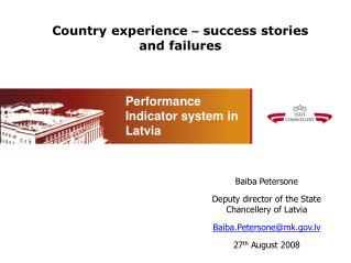 Country experience  –  success stories and failures