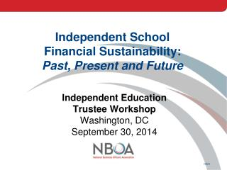 Independent School Financial Sustainability: Past, Present and Future