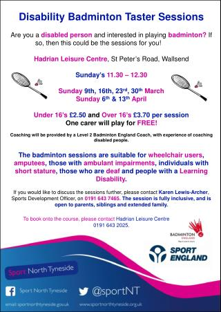 Disability Badminton Taster Sessions