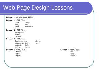 Web Page Design Lessons
