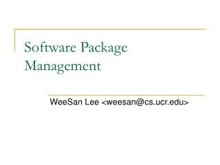 Software Package Management
