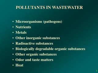 POLLUTANTS IN WASTEWATER