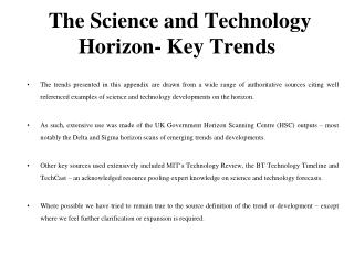 The Science and Technology Horizon- Key Trends