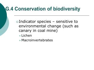 G.4 Conservation of biodiversity