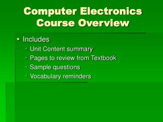 Computer Electronics Course Overview