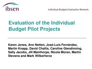 Evaluation of the Individual Budget Pilot Projects