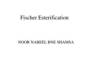 fischer esterification tlc