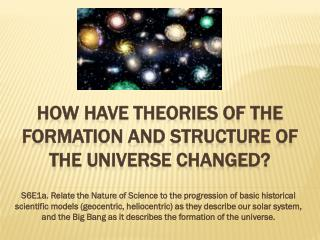 How have Theories of the formation and structure of the universe changed?