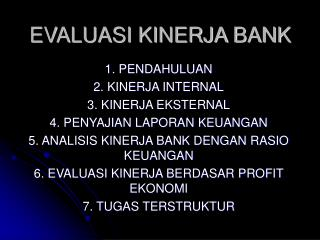 EVALUASI KINERJA BANK