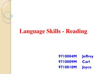 Language Skills - Reading