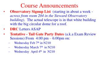 Course Announcements