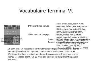 Vocabulaire Terminal  Vt