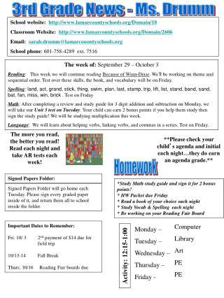 3rd Grade News - Ms. Drumm
