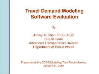 Travel Demand Modeling Software Evaluation