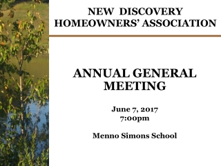 NEW DISCOVERY HOMEOWNERS' ASSOCIATION