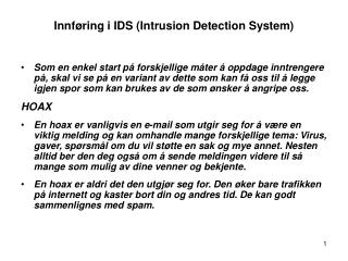 Innføring i IDS ( Intrusion Detection System)