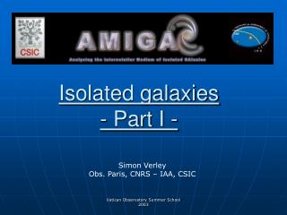 Isolated galaxies - Part I -