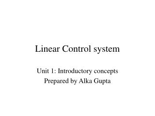 Linear Control system