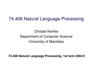 74.406 Natural Language Processing