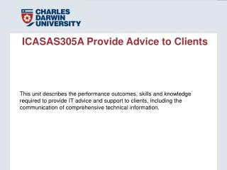 ICASAS305A Provide Advice to Clients