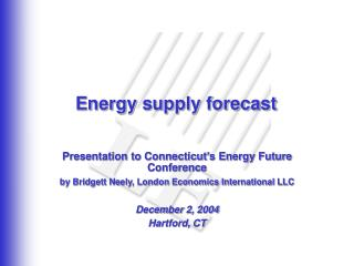 Energy supply forecast