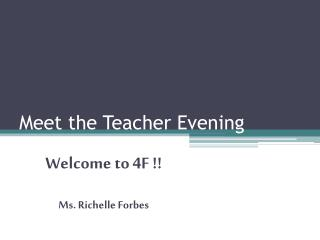 Meet the Teacher Evening