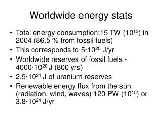 Worldwide energy stats