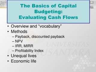 The Basics of Capital Budgeting:  Evaluating Cash Flows